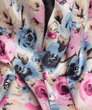 Luxusný dámsky hodvábny šál v krémovej farbe s farebnými kvietkami
