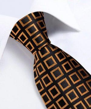 Luxusný kravatový set s prepracovaným vzorom - viazanka + gombíky + vreckovka