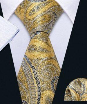 Luxusný zlatý kravatový set - viazanka + gombíky + vreckovka