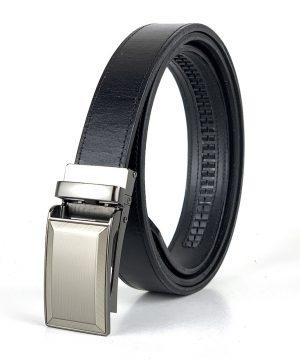 Opasok z pravej kože s automatickou prackou BUSINESS, 3cm, čierna farba