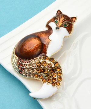 Roztomilá brošňa na šaty v tvare prepracovanej líšky s kryštálmi