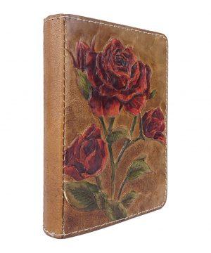 Ručne vytvarovaný, vyrezávaný a reliéfny kožený zápisník - Červené ruže