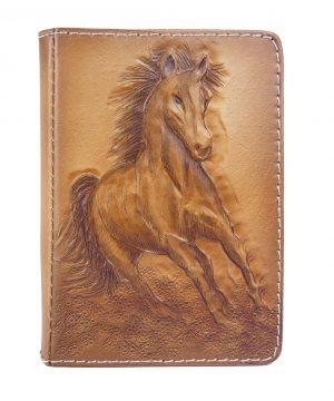 Ručne vytvarovaný, vyrezávaný a reliéfny kožený zápisník - Cválajúci kôň