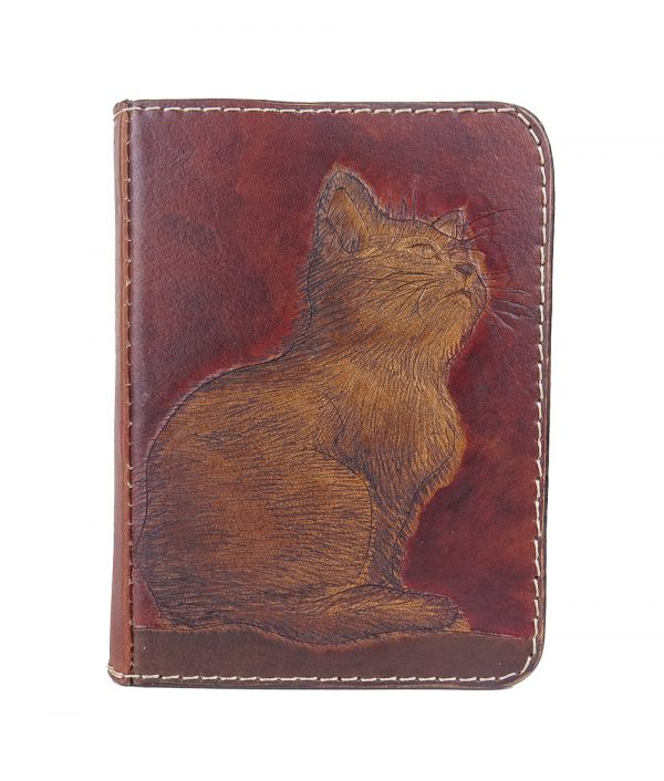 Ručne vytvarovaný, vyrezávaný a reliéfny kožený zápisník - Mačiatko