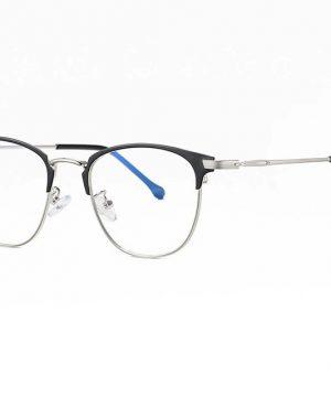 Štýlové okuliare s filtrom proti žiareniu monitora - čierno-strieborný rám