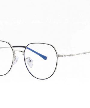 Vintage okuliare s filtrom na prácu pri počítači s čierno-strieborným rámom
