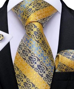Vzorovaný kravatový set s luxusným vzorom - viazanka + gombíky + vreckovka