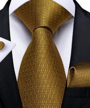 Zlatý kravatový set s decentným vzorom - viazanka + gombíky + vreckovka