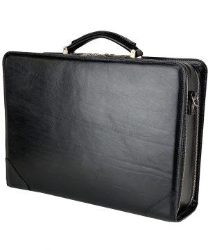 Kožený pracovný kufor č.8156 v čiernej farbe z kvalitnej kože
