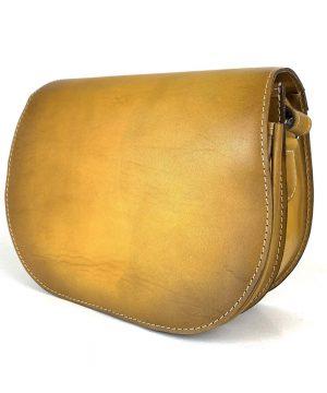 Luxusná kožená kabelka žltá, ručne tieňovaná, uzatváranie – skrytý magnet