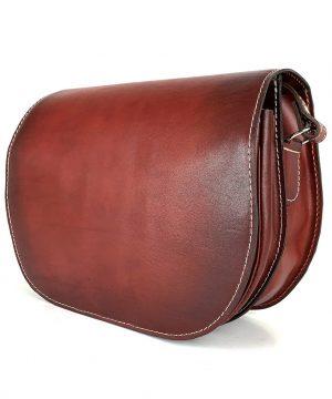 Luxusná kožená kabelka bordová, ručne tieňovaná, uzatváranie – skrytý magnet