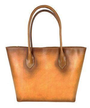 Luxusná Kožená dámska kabelka SHOPPER ručne tamponovaná a tieňovaná v žltej farbe