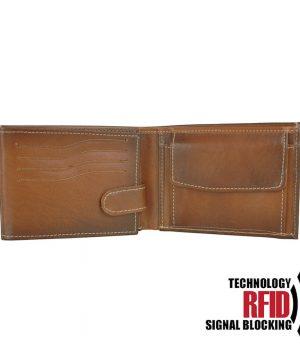 RFID kožená peňaženka vo svetlo hnedej farbe č.8552, ručne tieňovaná