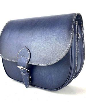Luxusná kožená kabelka tmavo modrá, ručne tieňovaná, zámok + pracka