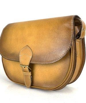 Luxusná kožená kabelka žltá, ručne tieňovaná, vyťahovací zámok + pracka