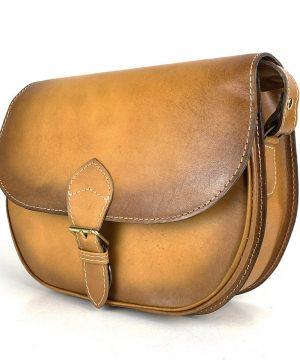 Žltá kožená kabelka, ručne tieňovaná, uzatváranie – vyťahovací zámok