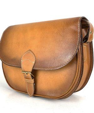 Luxusná kožená kabelka tmavo žltá, ručne tieňovaná, vyťahovací zámok + pracka