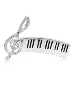 Luxusná brošňa v podobe klavírnej noty v striebornej farbe