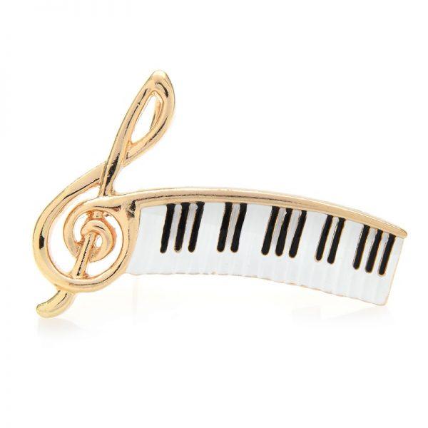 Luxusná brošňa v podobe klavírnej noty v zlatej farbe