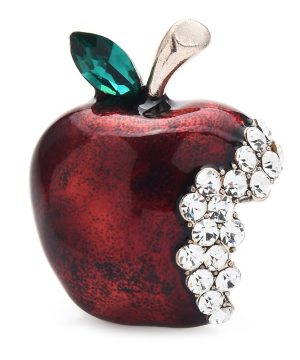 Luxusná brošňa v tvare odhryznutého jablka s kryštálikmi