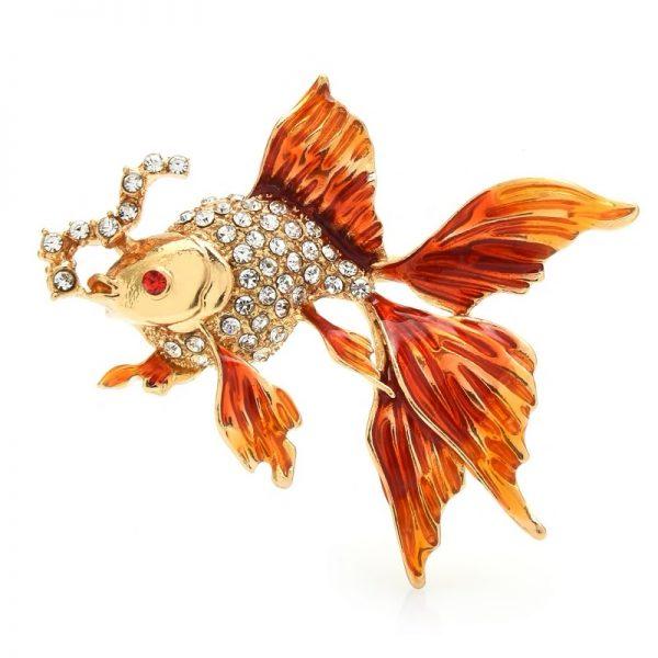 Luxusná brošňa v podobe oranžovej rybičky s kryštálikmi
