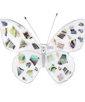 Luxusná brošňa zo smaltu v tvare motýľa v bielej farbe