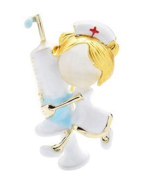 Luxusná dekoračná brošňa v podobe lekárky s striekačkou
