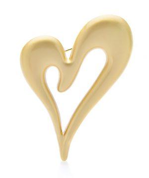 Luxusná módna brošňa v podobe zlatého matného srdiečka