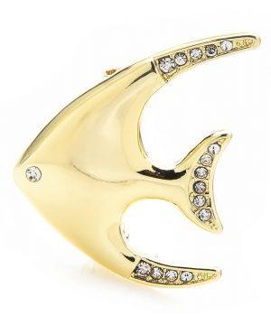 Luxusná módna brošňa v podobe zlatej rybky s kryštálikmi