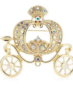 Luxusná ozdobná brošňa v tvare kráľovského koča s kryštálikmi