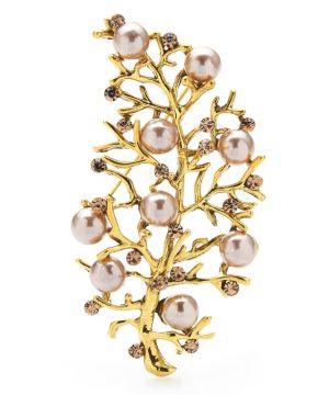 Luxusná ozdobná brošňa v tvare listu stromu s kryštálikmi