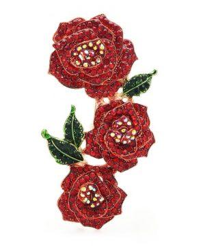 Luxusná ozdobná brošňa v tvare veľkých červených ruží s kryštálikmi