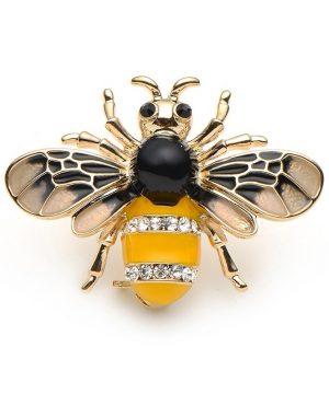 Luxusná smaltovaná brošňa na šaty v podobe včely,