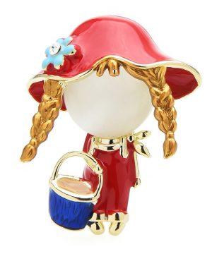 Luxusná smaltovaná brošňa v podobe červenej čiapočky