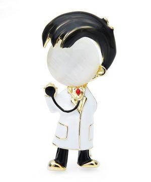 Luxusná smaltovaná brošňa v podobe doktora : lekára,