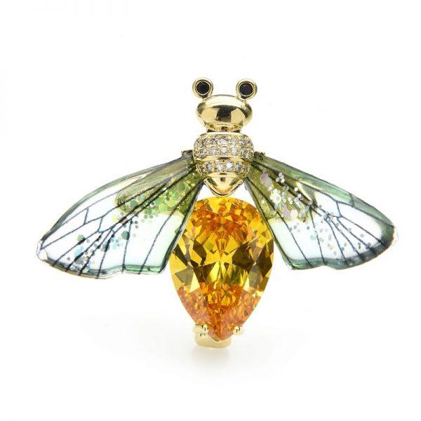 Luxusná transparentná brošňa v podobe farebnej včely
