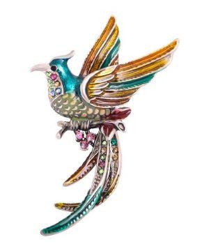 Luxusná módna brošňa v podobe farebného ohnivého fénixa