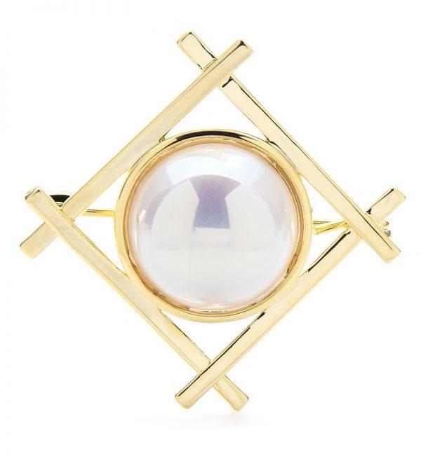 Luxusná módna brošňa v podobe zlatého štvorca so stredovou ozdobou