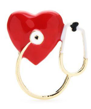Luxusná smaltovaná brošňa v podobe stetoskopu a srdiečka