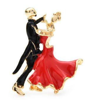 Luxusná smaltovaná brošňa v podobe tanečného páru