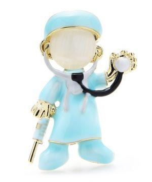 Luxusná smaltovaná brošňa v podobe vyšetrujúceho doktora v modrej farbe