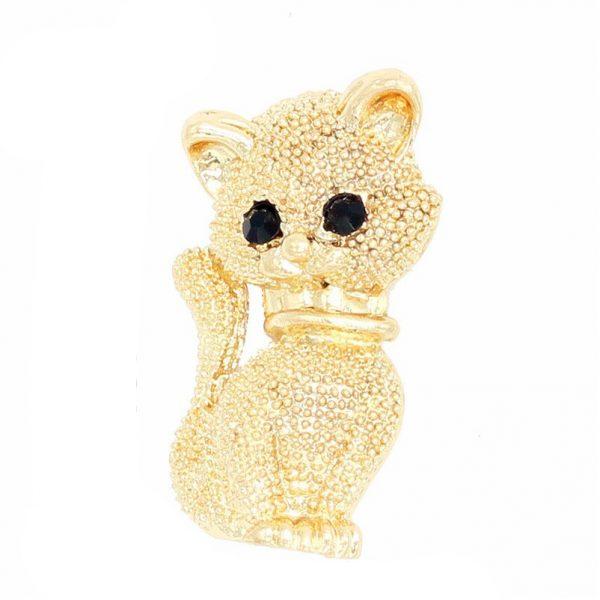 Roztomilá brošňa v podobe zlatého mačiatka z kryštálikov