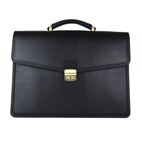 Luxusná kožená aktovka č.8131 v matnej čiernej farbe