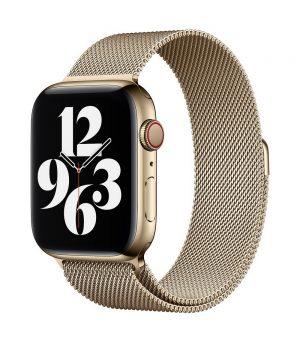 Magnetický náramok pre Apple Watch, Nerezová oceľ, 38mm : 40mm, Zlatý.