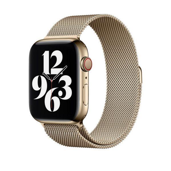 Magnetický náramok pre Apple Watch, Nerezová oceľ, 42mm / 44mm, Zlatý