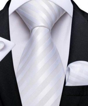 Kravatový set s vreckovkou a gombíkmi s bielymi pásikmi