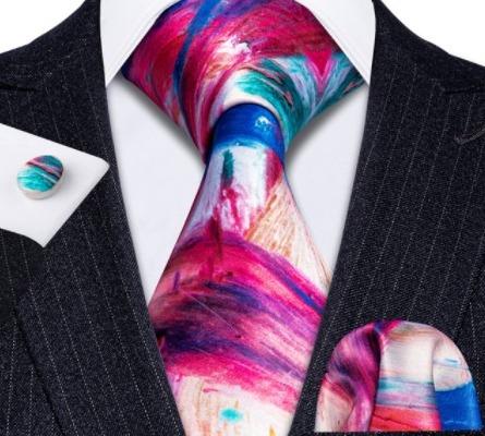 Kravatový set s vreckovkou a gombíkmi s farebným vzorom