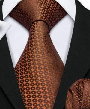 Kravatový set s vreckovkou a gombíkmi s medeným vzorom