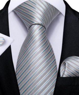 Kravatový set s vreckovkou a gombíkmi s modro-sivými pásikmi