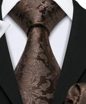 Kravatový set s vreckovkou a gombíkmi s tmavo-hnedým vzorom